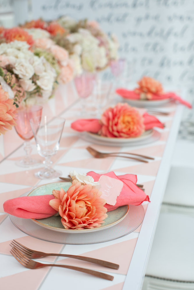 Coral colour scheme for table setting