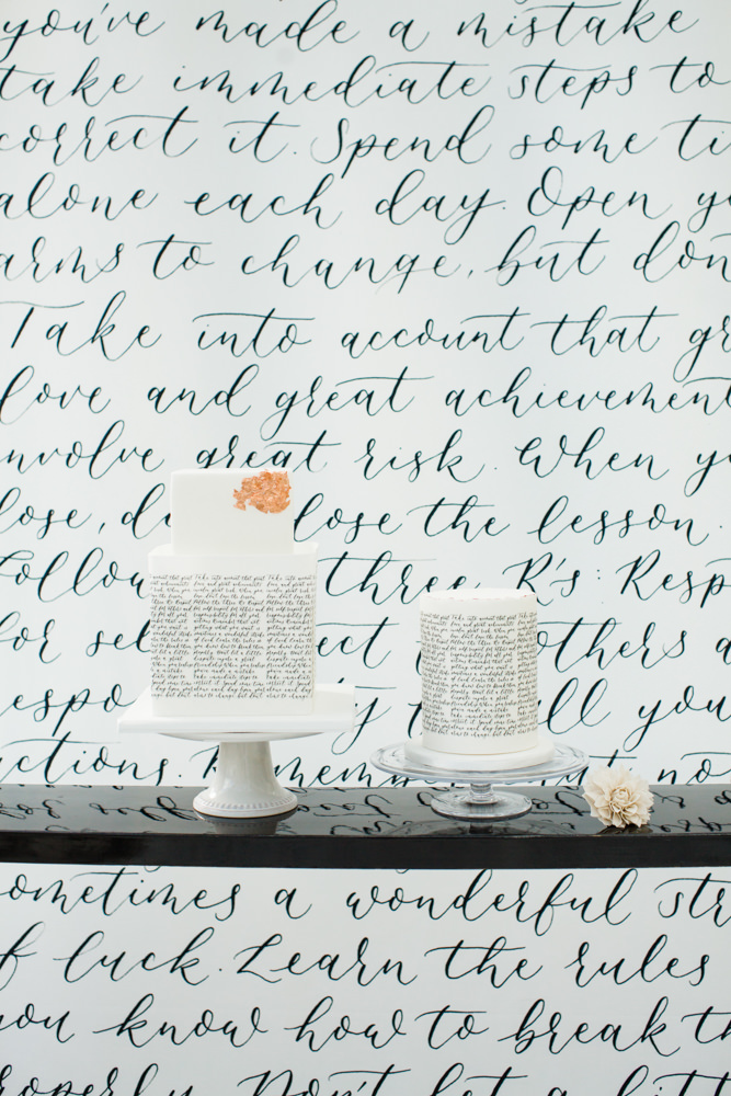 Calligraphy wedding cake in black and white