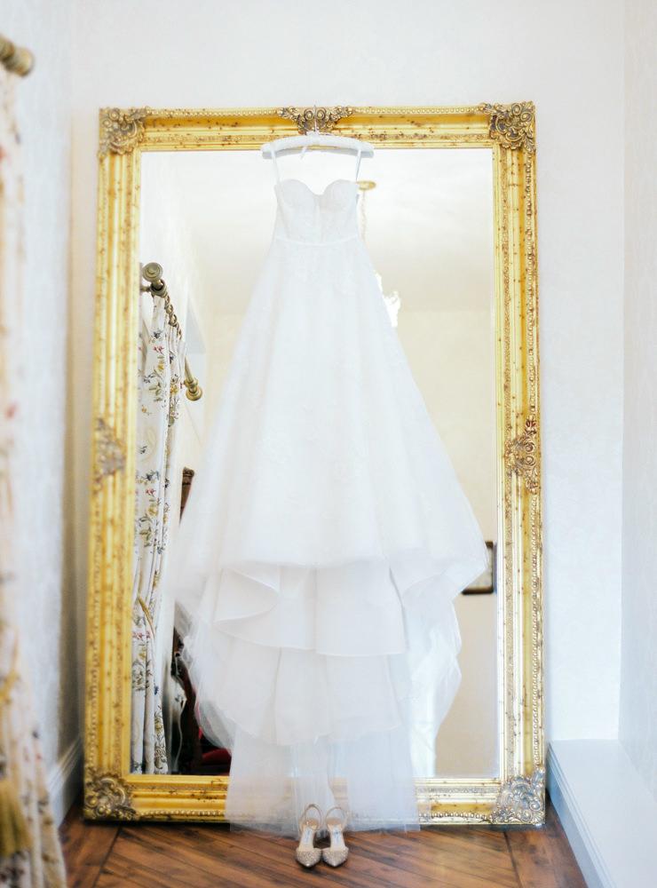 Drumtochty castle wedding dress hanging