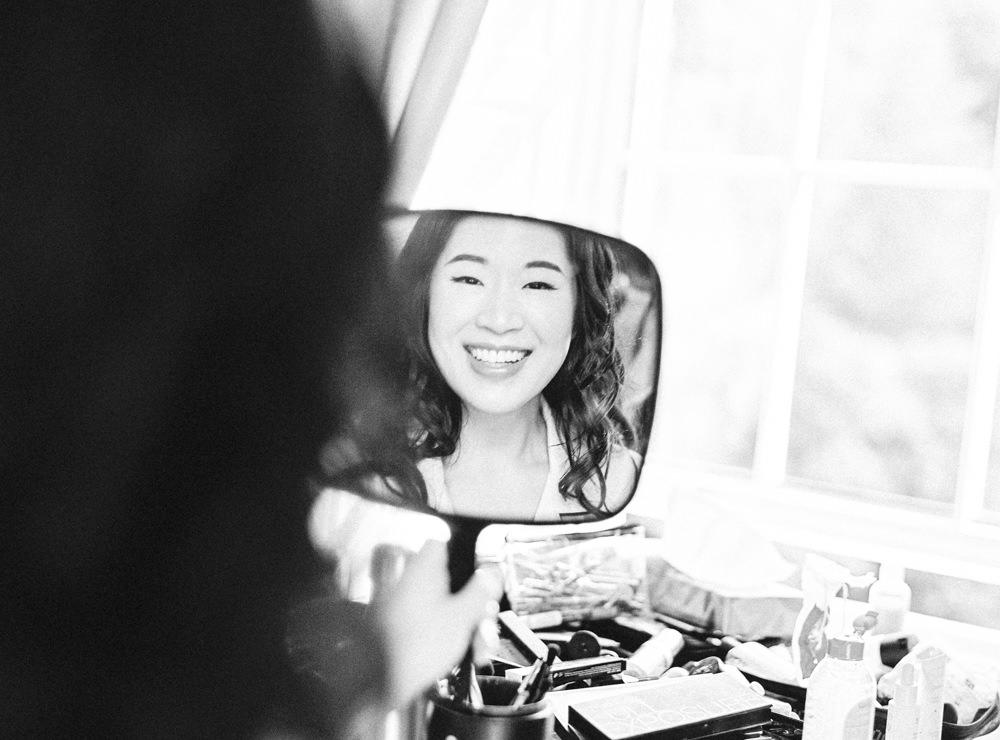 Bride holding mirror