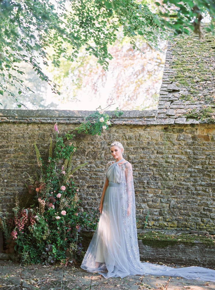 Cherry Williams blue wedding dress with Gibson Bespoke cape