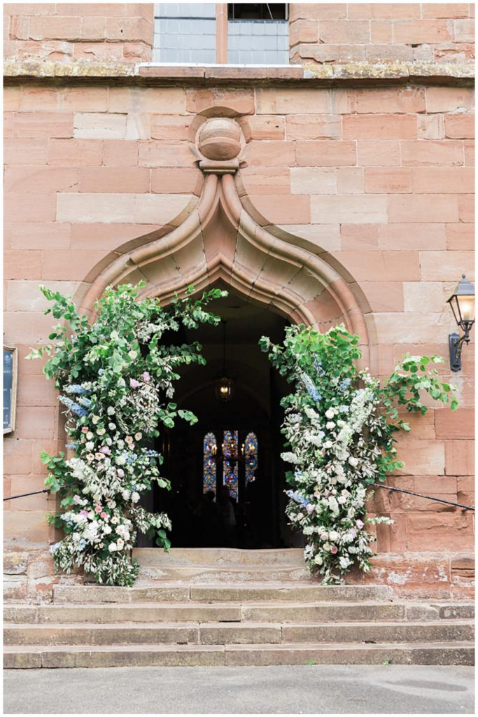 Floral arch outside church