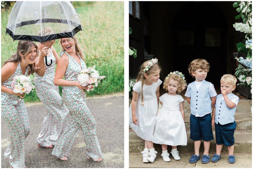 Bridesmaids walking under an umbrella. Flower girls and page boys waiting outside church