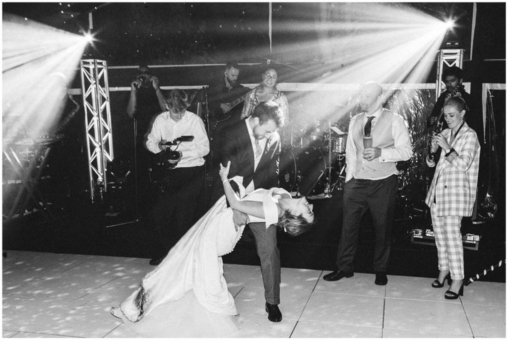 Bride and groom first dance, marquee wedding