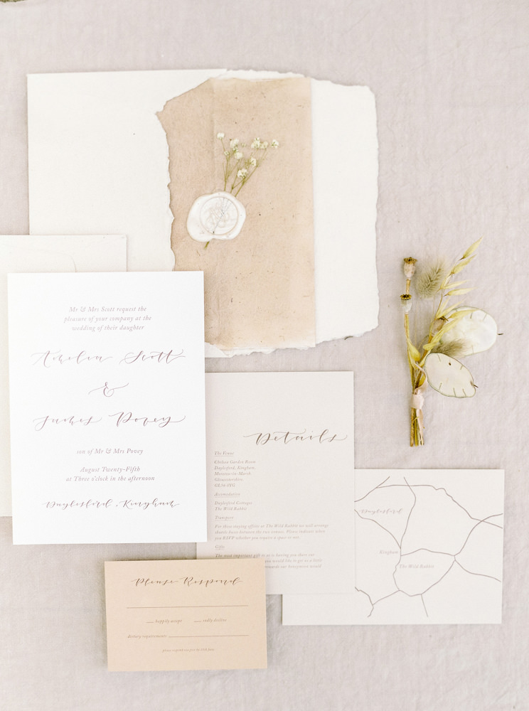 Stationery suite for Daylesford Organic wedding.