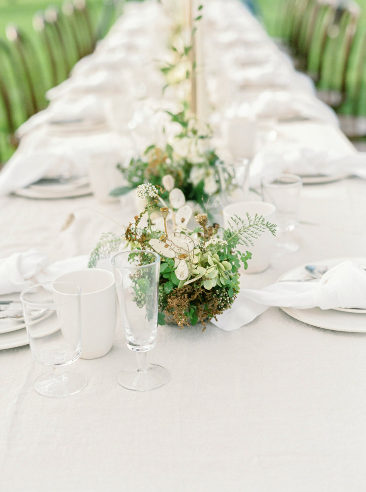 Tablescape set up at Daylesford Organic for alfresco wedding.